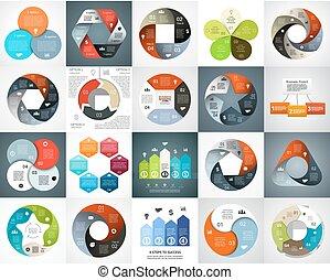 概念, 部分, 抽象的, infographic, processes., セット, グラフ, バックグラウンド。, 4, 6, ステップ, 円, プレゼンテーション, ビジネス, オプション, 周期, 図, 矢, chart., 5, ベクトル, 3