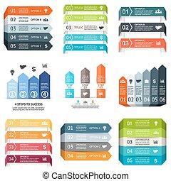 概念, 部分, 矢, 抽象的, 始動, visualization., processes., グラフ, バックグラウンド。, 4, テンプレート, 6, ステップ, プレゼンテーション, ビジネス, オプション, データ, 図, infographic., ライン, chart., 5, ベクトル