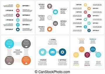 概念, 部分, 6, metaball, processes., グラフ, 4, 8, 円, プレゼンテーション, 三角形, ビジネス, タイムライン, オプション, ステップ, 周期, 図, infographic, chart., 5, ベクトル, 3