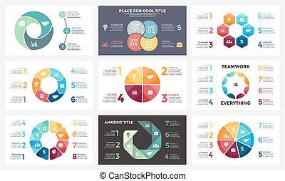 概念, 部分, 6, template., processes., グラフ, 4, 16x9, 8, 幾何学的, プレゼンテーション, ビジネス, オプション, 7, ステップ, 円, 周期, 図, infographic, 矢, chart., スライド, ベクトル, 3