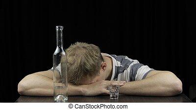 概念, 酔った, 憂うつにされた, 睡眠, 暗い, room., 単独で, アルコール中毒, 人