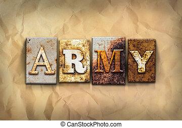 概念, 金属, さびた, タイプ, 軍隊