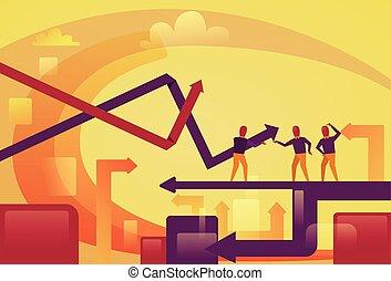 概念, 金融の成功, ビジネス 人々, 抽象的, 矢, の上, 背景