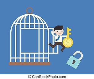 概念, 金融の自由, 錠, 跳躍, キー, お金, ビジネスマン, ケージ