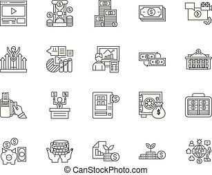 概念, 金融, セット, 世界的である, アイコン, イラスト, ベクトル, 線, サイン, アウトライン