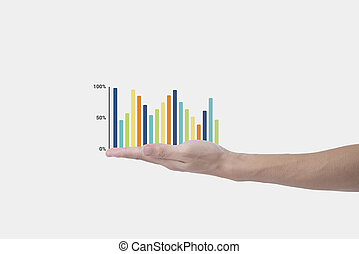 概念, 金融, ビジネス, graph., 手の 保有物, growing., プレゼンテーション