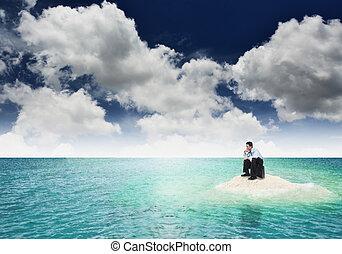 概念, 金融, 失业, 死, 危机, 说明, 使用, island., 粘贴, concept., 结束, 同时,...