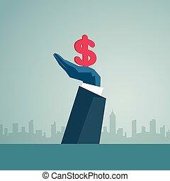 概念, 金融, 成功, 印, ドル, 手, ビジネス, ビジネスマン, 把握, 人