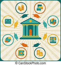 概念, 銀行業, infographic., ビジネス