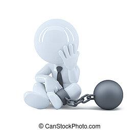 概念, 鎖, 犯罪, 彼の, ビジネスマン, 法律, foot.