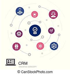 概念, 関係, 顧客, 円, そのような物, icons., 管理, 単純である, 有色人種, crm, ∥含んでいる∥, 要素