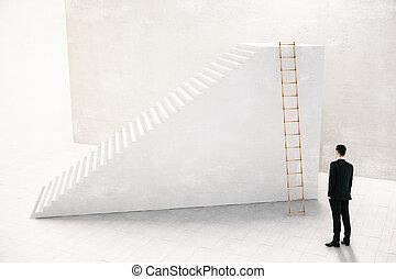 概念, 階段, 考え, ゴール, レンダリング, 方法, 行きなさい, ビジネスマン, 目的を達しなさい, 3d
