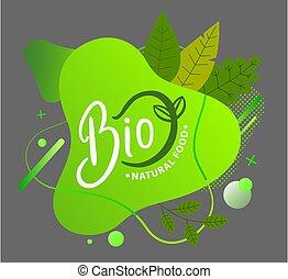 概念, 隔離された, アイコン, 緑, logo., 円, 葉, 灰色, bio, 平ら, 泡, きずもの, 形。