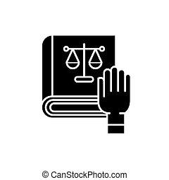 概念, 隔離された, イラスト, 印, バックグラウンド。, ベクトル, 黒, アイコン, シンボル, 順序, 法律