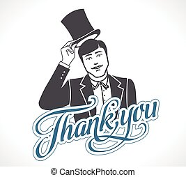 概念, 離れて, 感謝しなさい, 取得, -, 印, 彼の, ロゴ, あなた, 人, 帽子, アイコン
