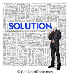 概念, 雲, 単語, 解決, ビジネス