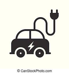 概念, 電気 車, エネルギー, ベクトル, 緑, アイコン