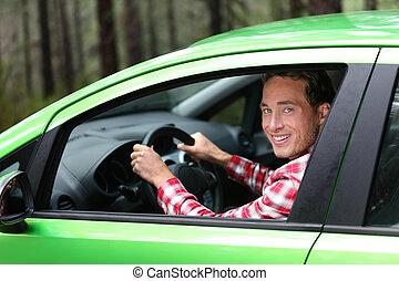 概念, 電気 車, エネルギー, -, 緑, 運転手, biofuel