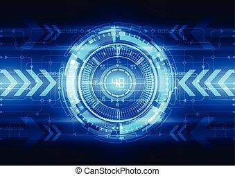 概念, 電, 腦子, 摘要, 矢量, 電路, 數字