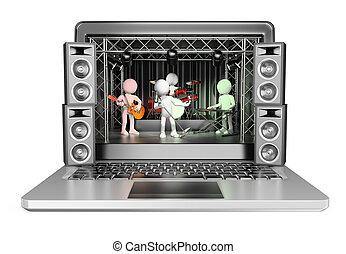 概念, 音乐会, 人们。, laptop., 流, 视频, 白色, 3d