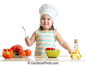 概念, 食べること, 野菜, 健康, シェフ, 子供, コック, 新たに, 女の子