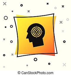 概念, 黄色, 求人, 広場, 人間, 雇用, 探求, 隔離された, バックグラウンド。, 黒, 白, 頭, ビジネス, 印。, business., イラスト, アイコン, 資源, ターゲット, button., ベクトル, ∥あるいは∥