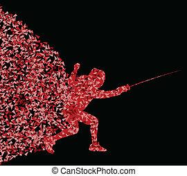 概念, 黑色半面畫像, 柵欄, 三角形, 插圖, 運動, 表演者, 矢量, 背景, 海報, 活躍, 爆炸, 碎片, 做