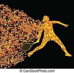 概念, 黑色半面畫像, 海報, 網球, 三角形, 插圖, 運動, 表演者, 矢量, 背景, 活躍, 爆炸, 碎片, 做