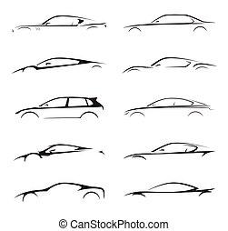 概念, 黑色半面畫像, illustration., 汽車, set., supercar, 運動, 矢量, 彙整, ...
