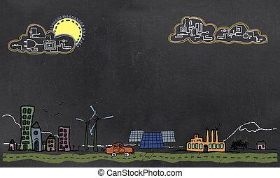 概念, 黒板, エネルギー, 未来, 技術, 回復可能