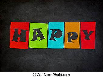 概念, 黒板, 幸せ
