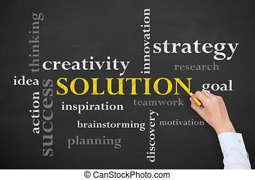 概念, 黒板, 背景, 解決