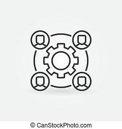 概念, 齿轮, 人们, outsourcing, 矢量, 图标