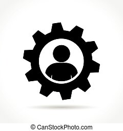 概念, 齿轮, 人, 图标