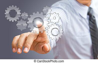 概念, 齿轮, 成功, 显示, 手, 商人