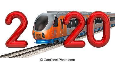 概念, 2020, 3d, レンダリング, 列車, 現代