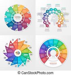 概念, 4, セット, processes., 産業, 科学, オプション, ベクトル, ビジネス, 教育, 部分, infographic, ステップ, 12, 価値, templates.