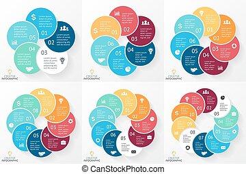 概念, 8, 部分, 6, processes., セット, グラフ, infographics, ステップ, 円, プレゼンテーション, 9, ビジネス, 図, オプション, 7, 周期, 10, 矢, chart., 5, ベクトル