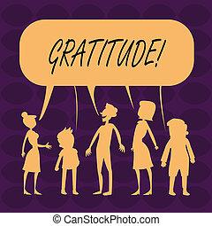 概念, acknowledge., 感謝している, ある, テキスト, 感謝, 意味, 感謝, 手書き, 品質, gratitude.