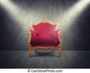 概念, armchair., 成功, 金, 栄光, 赤, 贅沢