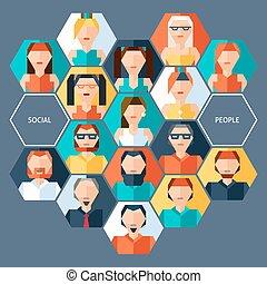 概念, avatars, 六角形