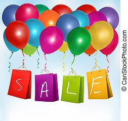 概念, bags., illustration., discount., セール, ベクトル, 買い物