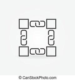 概念, blockchain, 元素, 矢量, 设计, 或者, 图标