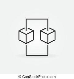 概念, blockchain, 元素, 矢量, 设计, 线, icon.