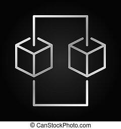 概念, blockchain, 元素, 矢量, 设计, icon., 线, 银
