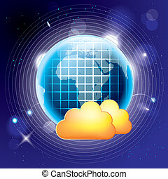 概念, blue., 計算, 背景, 雲, design.