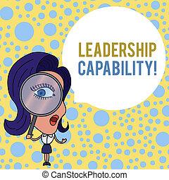 概念, bubble., テキスト, 効果的に, ブランク, 拡大する, 何か, 容量, リード, 執筆, 見る, スピーチ, 建造しなさい, リーダー, 女性ビジネス, 大きい, capability., ガラス, リーダーシップ, かいば桶, 目, 単語, 缶, ラウンド