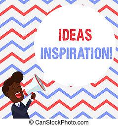 概念, bubble., テキスト, 若い, 形, 何か, 浮く, 考え, 叫ぶこと, スピーチ, 熱意, あなた, メガホン, 空, 誰か, 得なさい, 意味, inspiration., 人, ラウンド, 手書き, 感じ, ∥あるいは∥