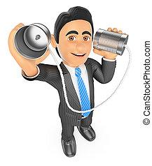 概念, can., コミュニケーション, によって, ビジネスマン, 話すこと, 3d