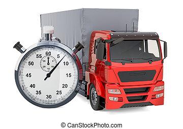 概念, chronometer., 速い配達, レンダリング, トラック, 3d